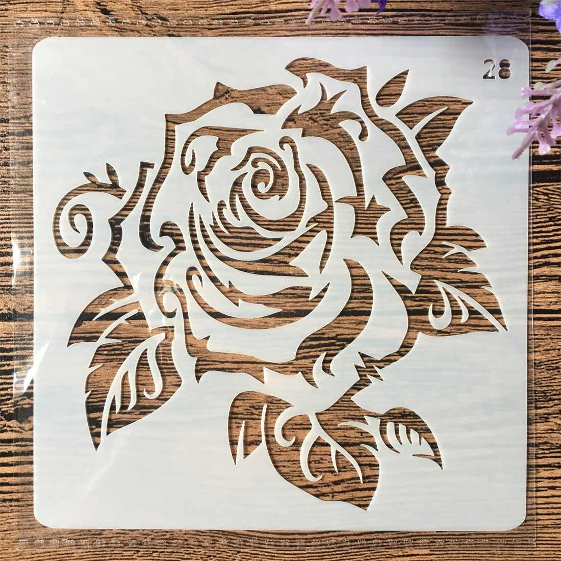 13cm Rose Flower  DIY Layering Stencils Wall Painting Scrapbook Coloring Embossing Album Decorative Card Template