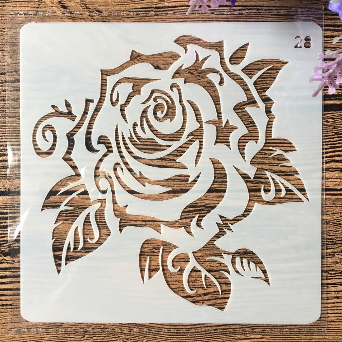 13cm Rose Flower  DIY Layering Stencils Wall Painting Scrapbook Coloring Embossing Album Decorative Card Template