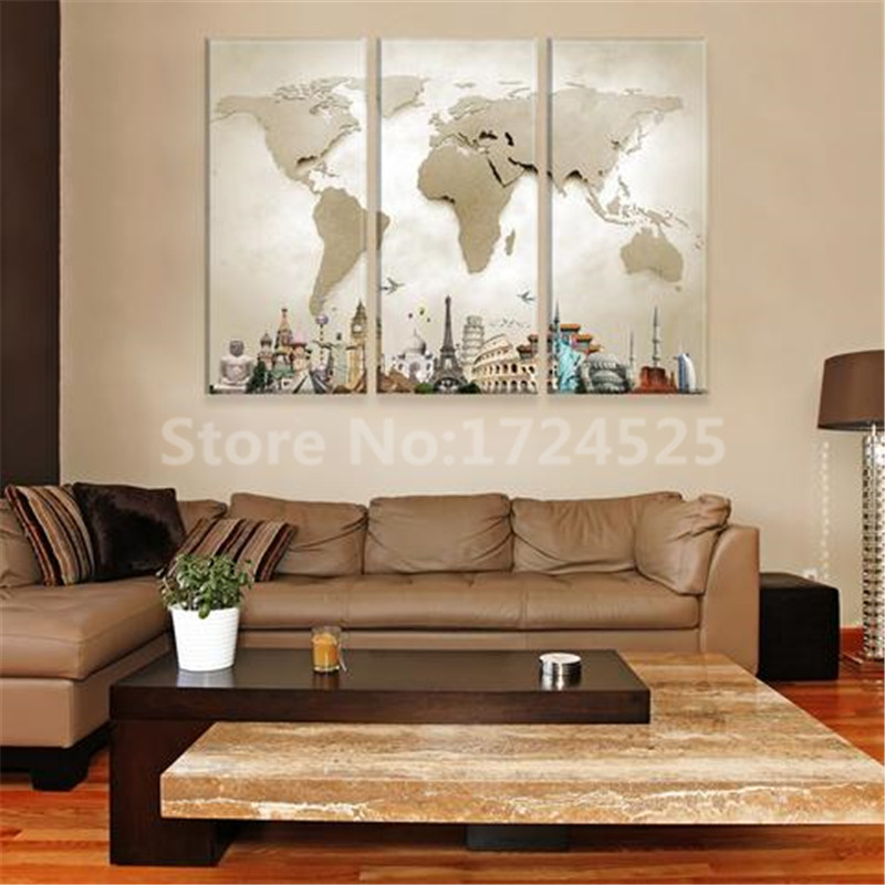 Clstrose hot sale 3 pieces modular pictures for home abstract wall clstrose hot sale 3 pieces modular pictures for home abstract wall art painting world map canvas for living room decor picture in painting calligraphy gumiabroncs Gallery