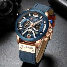 CURREN reloj deportivo de lujo para hombre, cronógrafo, correa de cuero, de cuarzo, resistente al agua