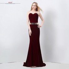 Vestido de formatura 2018 sexy sweetheart Velour sexy mermaid burgundy prom  dresses long plus size cheap black girl prom dress 01f894416f1b