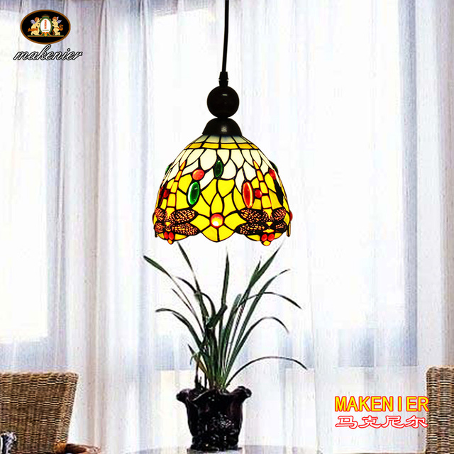 Makenier Tiffany Style Stained Glass Blue Dragonfly Vintage Small Pendant  Lamp, 7 Inches Lampshade