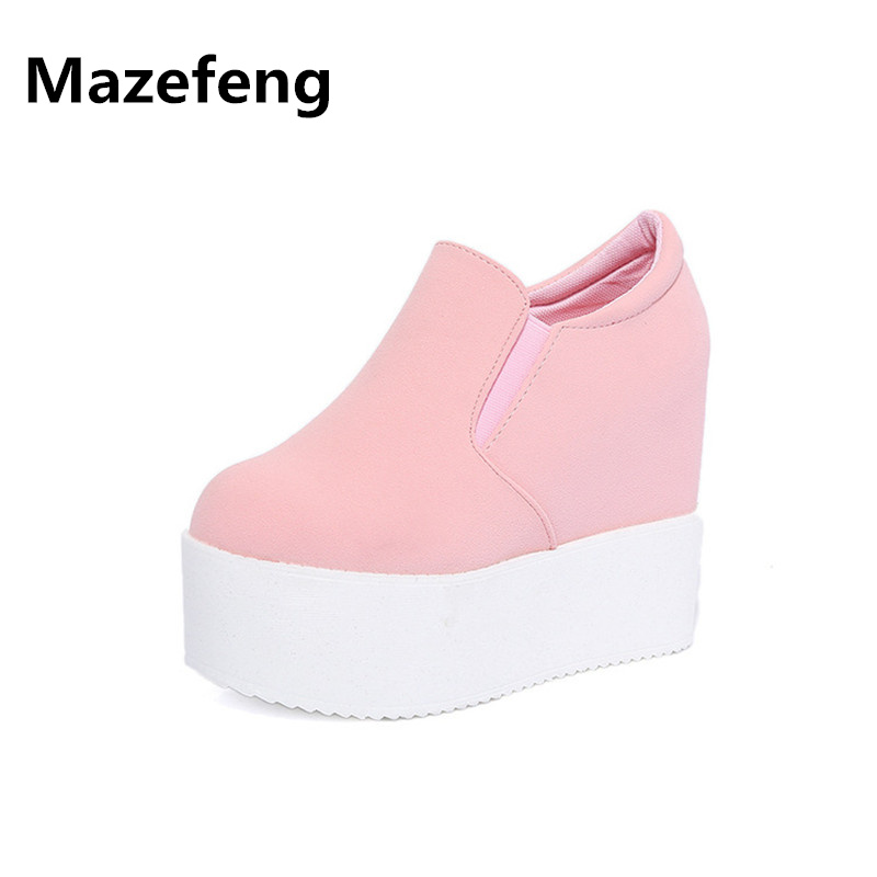 Spring autumn height increased women shoes fashion slip on casual shoes loafer breathable zapatos mujer