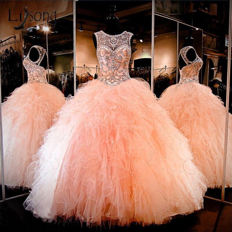 Princesse pêche Puffy robes de bal 2018 cristal perlé Long volants à plusieurs niveaux robes de bal o-cou Vintage formelle robe Abendkleider