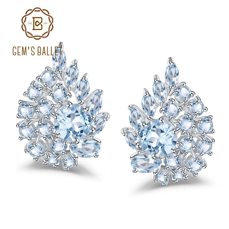 Gem s Ballet 6 33Ct Natural Sky Blue Topaz Gemstone Flower Stud Earrings 925 Sterling Silver