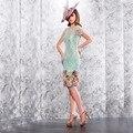 Verde elegante Bainha Frisada Lace Manga Curta Mãe do Vestidos de noiva 2016 Na Altura Do Joelho do baile de Finalistas Vestidos vestido de madrinha VM21
