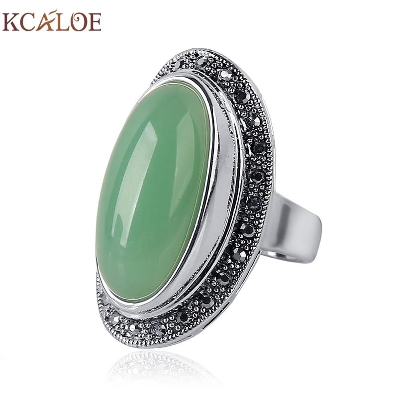 KCALOE Lady Women Green Stones Ring Charm Brand Jewelry Antique Black Rhinestone Natural Stone Wedding Anniversary Rings Anillos