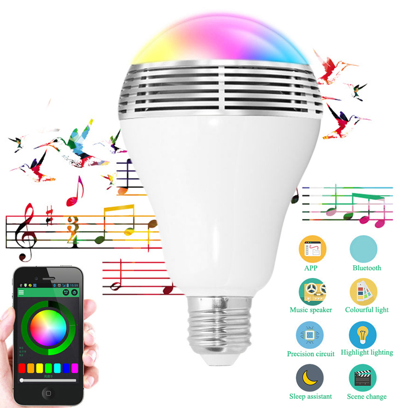 LED RGB Bulb Lamp APP Remote Control E27 Speaker Bluetooth 4.0 Music LED Night Light rgb 10w led bulb e27 e14 ac85 265v led lamp with remote control led lighting multiple colour