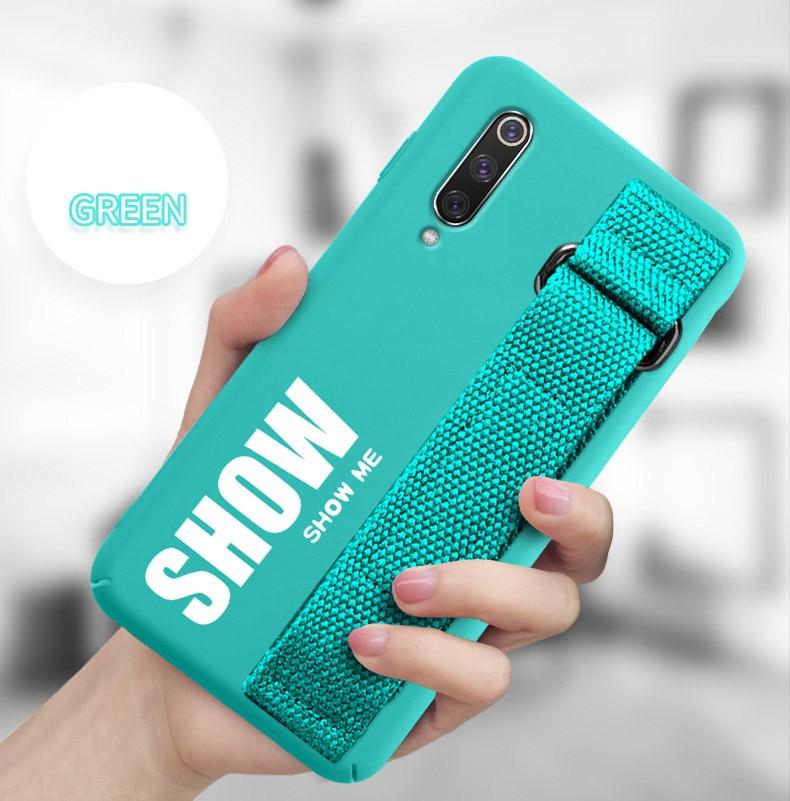 For Xiaomi Mi 9T 9 SE 8 Lite Pro 6 6X A2 A1 Note 10 Max 2 3 Mix 2S CC9 CC9E Redmi K20 Case Silicon Matte Cover Hand Strap Funda