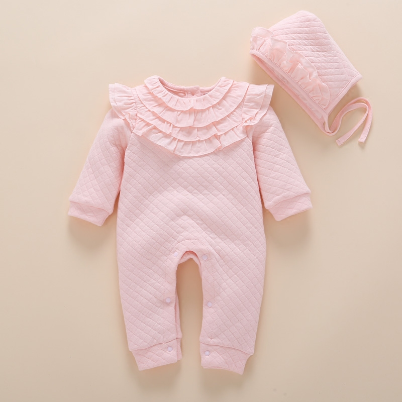 92e5768ae275 Newborn Autumn Winter Thick Lace Romper Baby Girls Pink Air Cotton Warm  Rompers+Kids Hat Baby Clothes Infantil Jumpsuit Coverall Tags