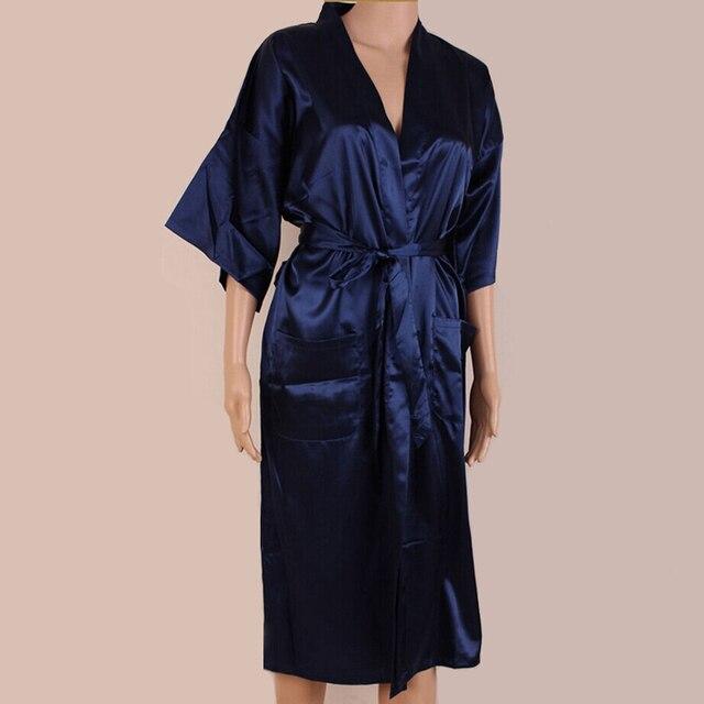 Темно-синий китаец шелковый район длинный халат унисекс кимоно юката ночная рубашка пижамы с поясом размер L XL XXL XXXL