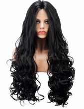 COLODO 180% Heavy Density Black Long Loose Wave Curly Synthetic Lace Front Wig Heat Resistant Fiber For Black Women 26 Inch