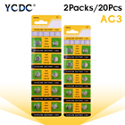 YCDC 20pcs Alkaline Battery 1.55V 192 384 392 392A AG3 CX41 G3 LR41 L736 LR736 SR41 SR41SW SR41W V3GA Clock Watch Button Cell