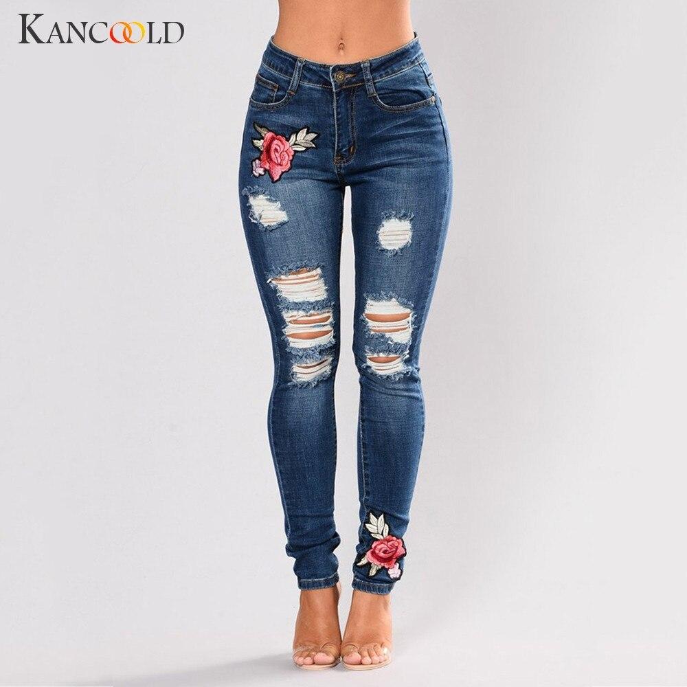 KANCOOLD   jeans   Women Fashion Stretch Embroirdery Flower   Jeans   High Waist Stretch Slim Sexy Pencil Pants   jeans   woman 2018Oct26