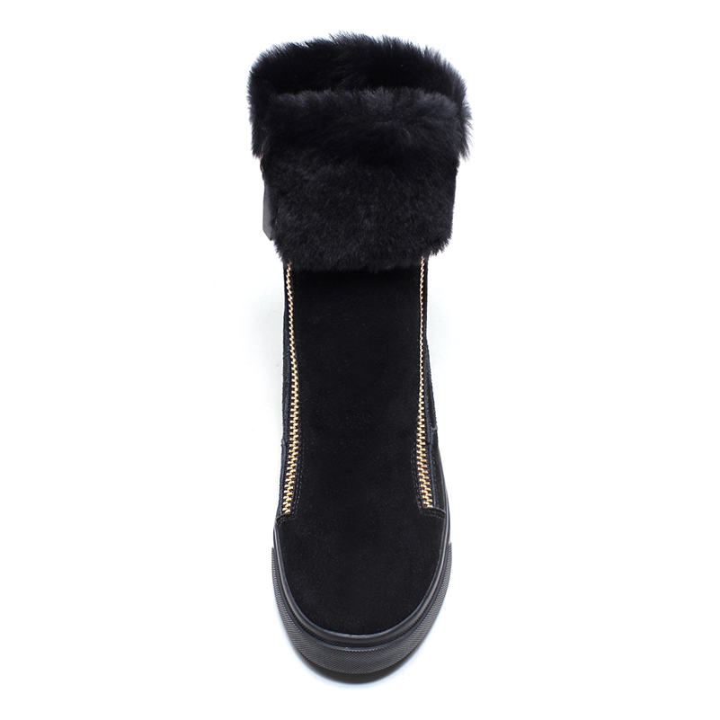 Image 3 - FEDONAS Top Quality Cow Suede Genuine Leather Warm Wool+Plush Snow Boots Women Wedges Heels Zipper Ankle Boots Shoes Woman-in Ankle Boots from Shoes