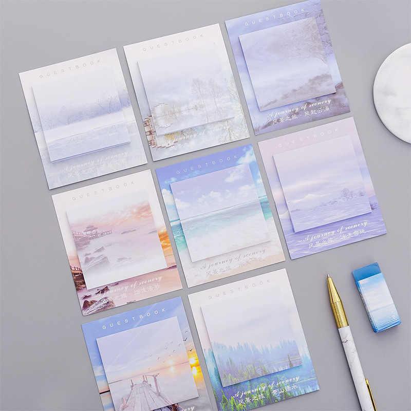 น่ารัก Kawaii ทิวทัศน์สร้างสรรค์ MeMO Pad Sticky Notes Memo เครื่องเขียนโน้ตบุ๊คโพสต์มันหมายเหตุสติกเกอร์กระดาษอุปกรณ์สำนักงานโรงเรียน