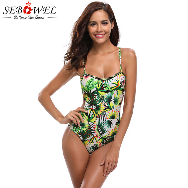 bcbde7de95b22 SEBOWEL 2018 Sexy Tropical Leaf Print One Piece Swimsuit Women Backless  Strappy V Back Monokini Swimming suit With Padded