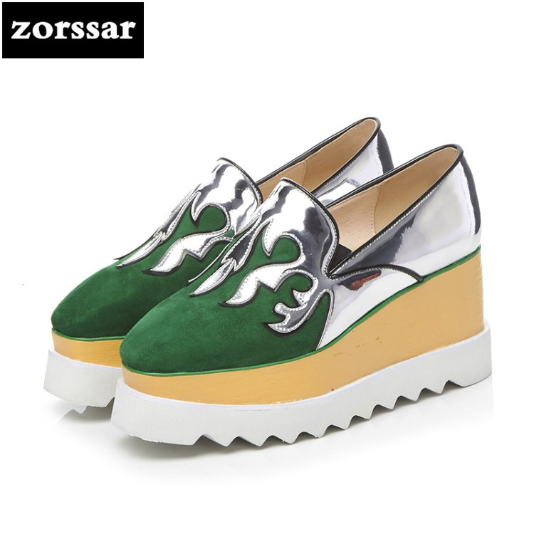 {Zorssar} 2018 New Genuine Leather womens creepers shoes Square toe Wedges High heels pumps Fashion suede Ladies Platform Shoes creepers platform korean suede medium wedge autumn high heels shoes big size casual black pumps green round toe ladies fashion
