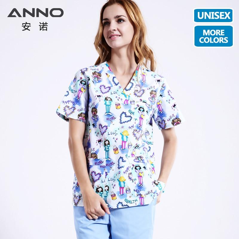 ANNO ทางการแพทย์เสื้อผ้าจับคู่ผู้หญิงผู้ชายการ์ตูนพยาบาลโรงพยาบาลพยาบาลขัดชุดคลินิกเครื่องแบบผ่าตัดสูท