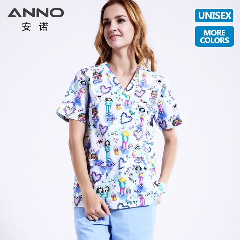 ANNO Medical Clothing Matching Women Men Cartoon Nurse Hospital Nursing Scrubs Set Clinical Uniforms Surgical Suit