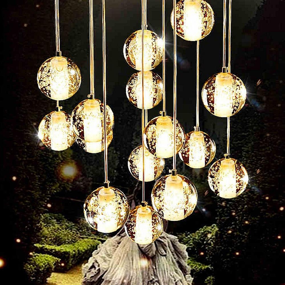 LED Crystal Glass Ball Pendant Lamp Meteor Rain Meteoric Shower Stair Bar Droplight Chandelier Lighting AC110-240V z best price led downlight droplight double ball stair crystalline light creative bar hotel led crystal chandelier parts