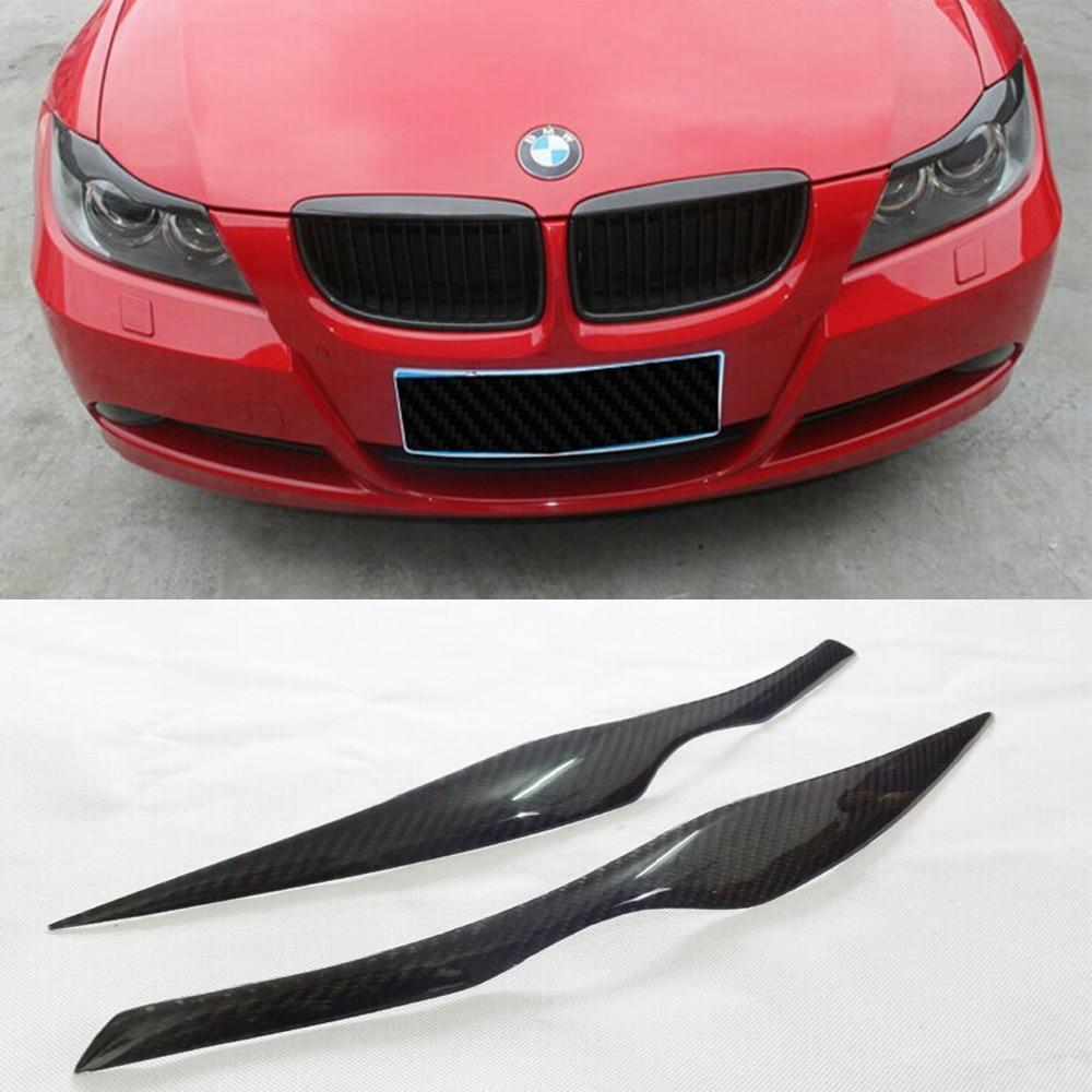 E90 En Fiber De Carbone de voiture Phare Sourcils cover version autocollant pour BMW 2009-2012 Livraison gratuite