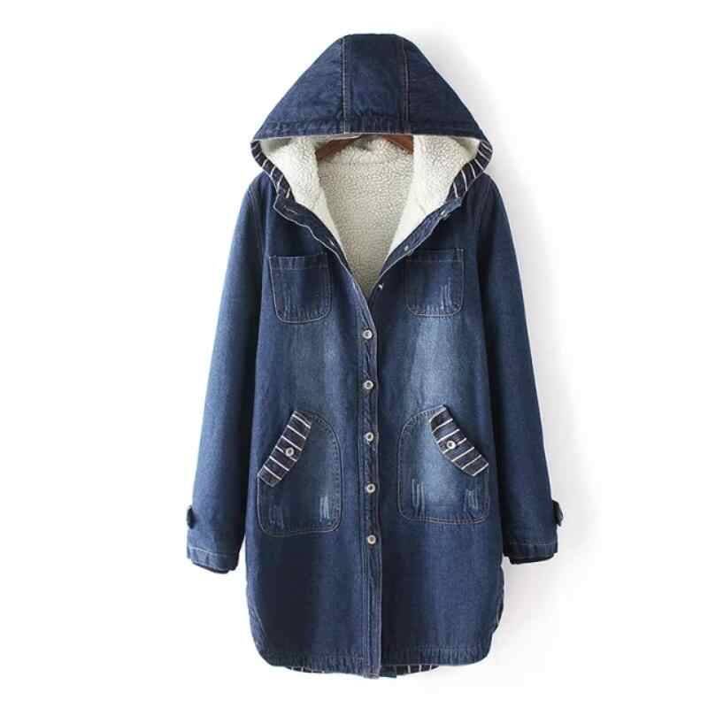 Vrouwen Hooded Winter Jean Jassen Lange Bovenkleding Warme Denim Jas Nieuwe vrouwen Grote Maat 5XL Wol Liner Dikker Winter Denim jassen