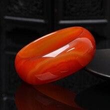 Широкие манжеты природа Сардоникс красивых женщин сладкий красный Шарм браслет 56-64 мм Femme