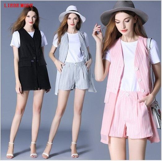 women 3 pieces suit vest crop top and shorts set summer