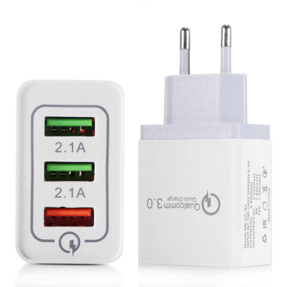 3 porty szybka ładowarka 3.0 ładowarka USB zasilacz ścienny do iPhone iPad Samsung Xiaomi telefony komórkowe QC3.0 Travel szybka ładowarka