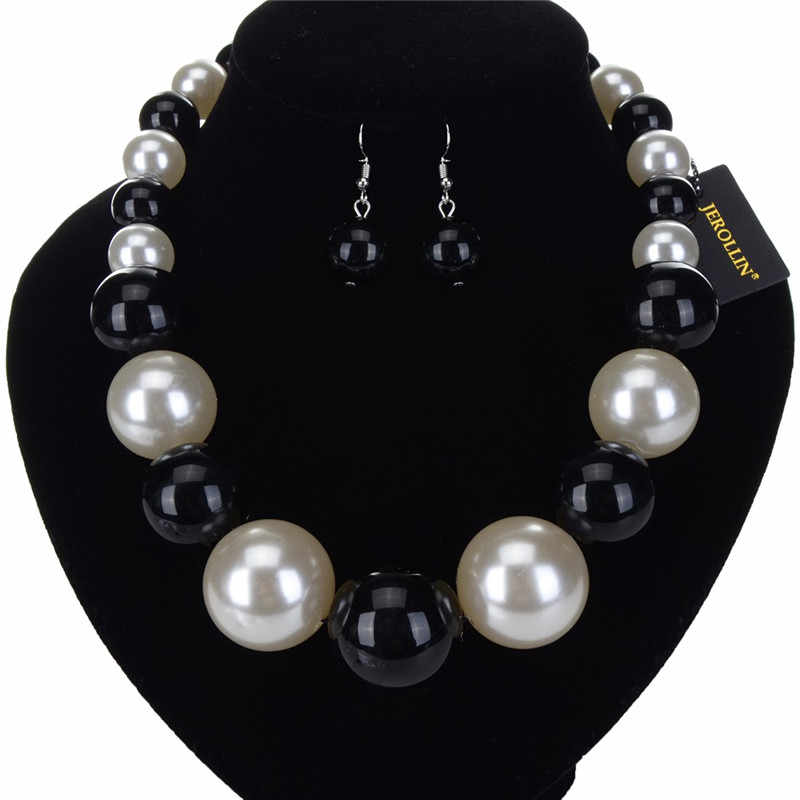 Women's Jewelry Luxury Pearl Resin Statement Dangle Necklace Earrings Set Clothes Pendant Bib  Colla Choker Charm Necklace