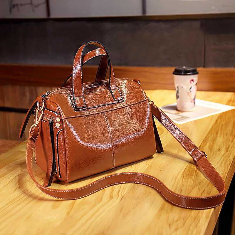 Sacos de ombro couro genuíno bolsa de ombro moda boston retalhos alta qualidade do sexo feminino mensageiro crossbody senhoras 2019 t48