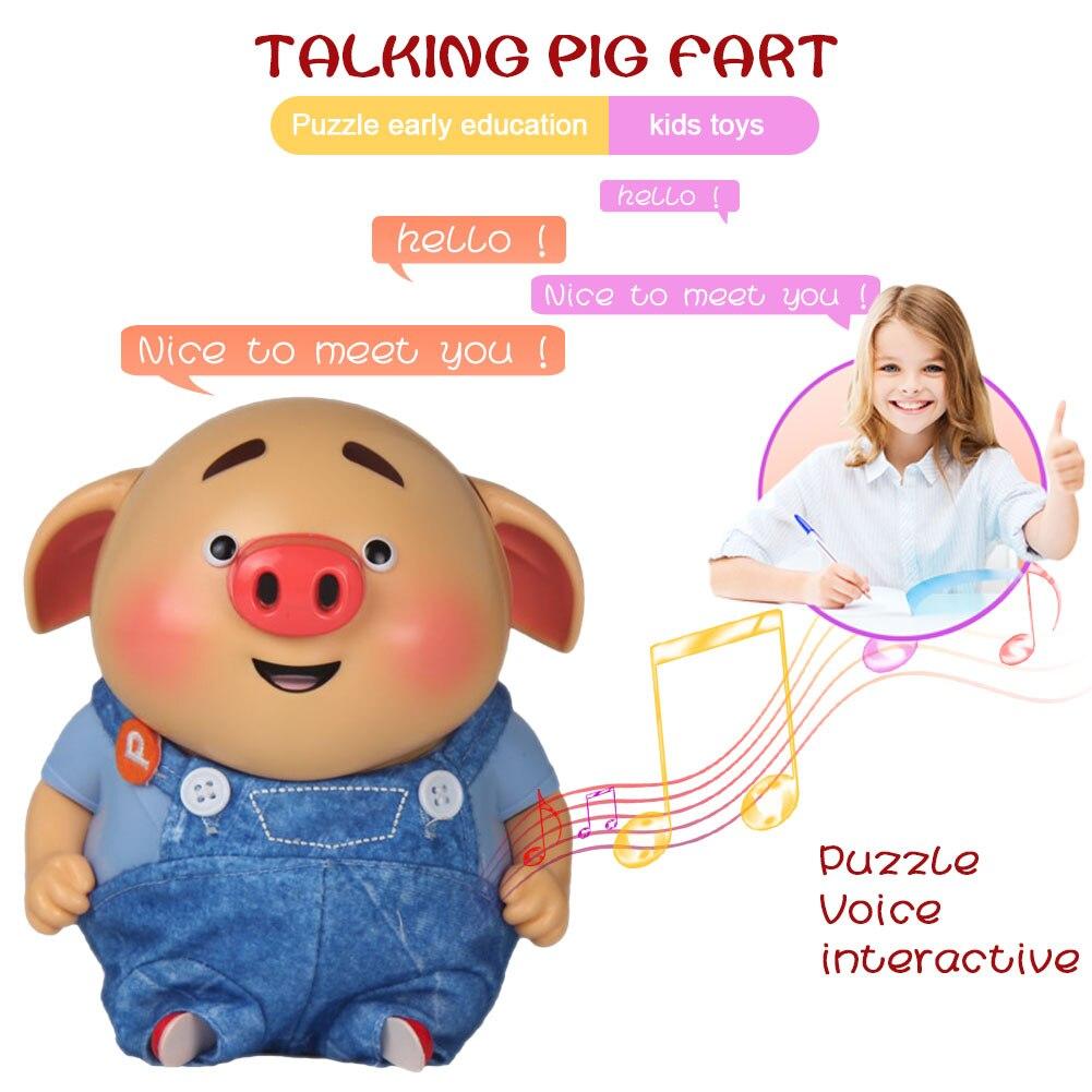 Juguete eléctrico lindo de cerdo que habla música de grabación de sonido de juguete para la familia juego interactivo bebé niños juguetes NSV775