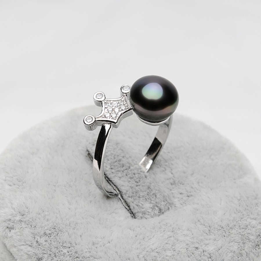 F EIGE 925อิมพีเรียลมงกุฎแหวนมุกสีดำสำหรับผู้หญิง8-9มิลลิเมตรสีดำธรรมชาติแหวนไข่มุกแท้เครื่องประดับเพชรพลอย