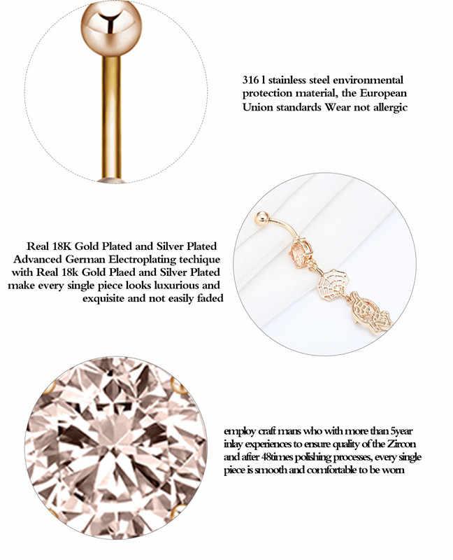 Cxwind נשים חמוד פירסינג טבור כירורגי פלדה ספיידרמן להתנדנד טבור טבור טבעת קריסטל גוף פירסינג תכשיטים