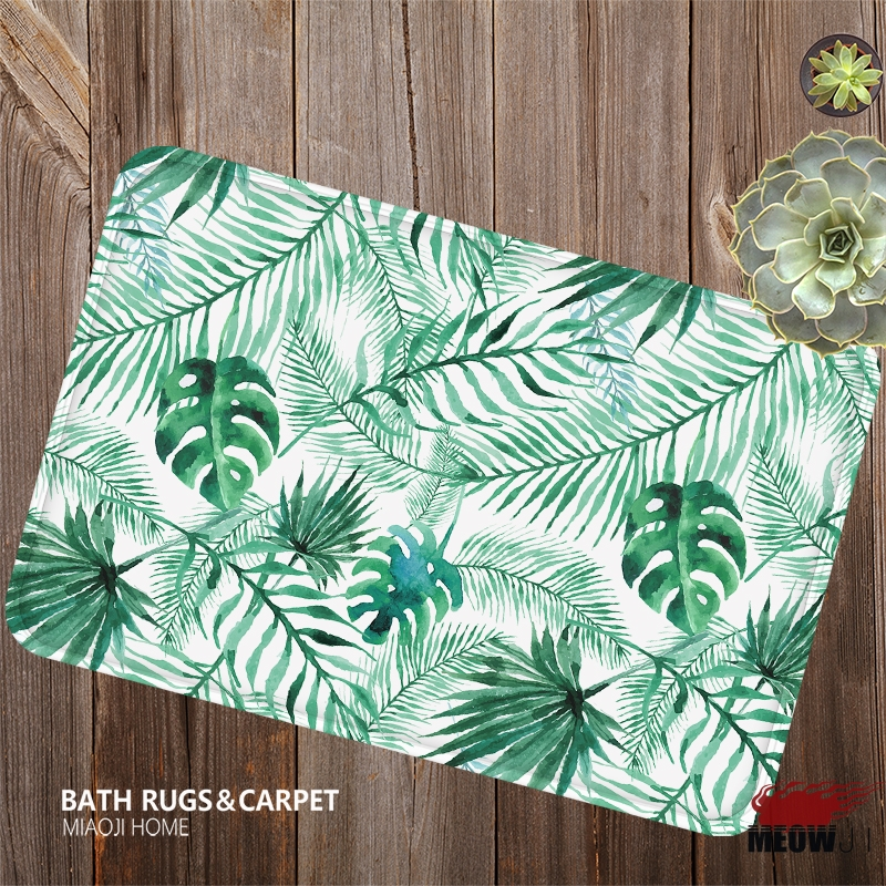 [MIAOJI] Grass Leaves Flower Spring Color Soft Feet Dust Rub Carpet Doormat Bath Mat Absorbent Non-Slip
