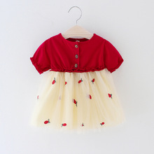 2019 Summer New Baby Girls clothes Newborn Bebes Short Sleeve Pineapple Embroidery Dresses Bebe Girl Princess Infant Clothing
