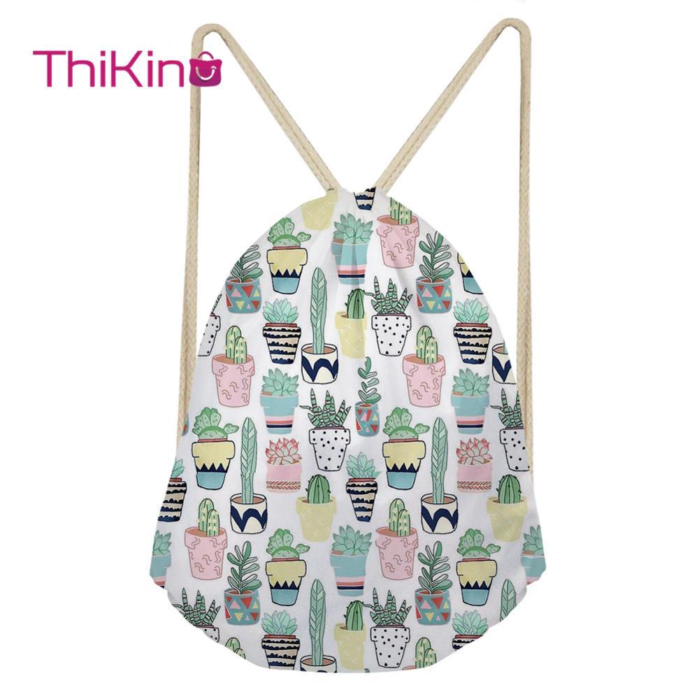 Thikin Cactus Cartoon Casual Sack Drawstring Bag For Women Travel Backpack Toddler Softback Lady Beach Mochila DrawString Bag