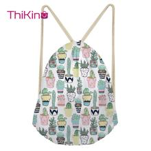 Thikin Cactus Cartoon Casual Sack Drawstring Bag for Women Travel Backpack Toddler Softback Lady Beach Mochila DrawString Bag