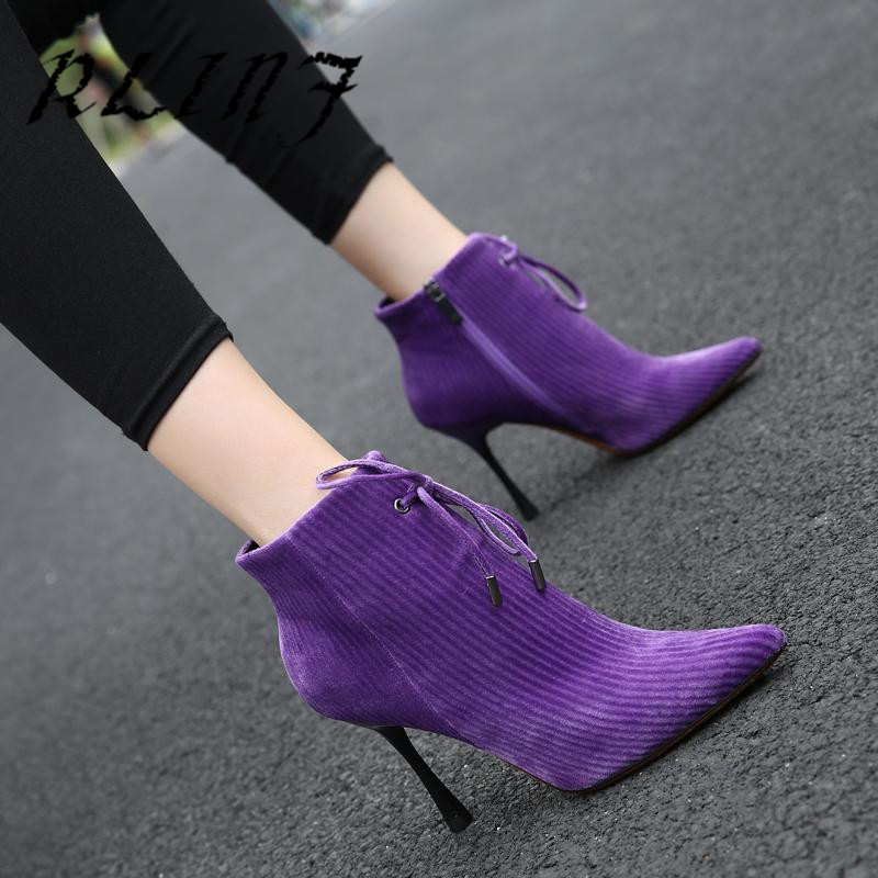 Rlinf Tacón Del negro Estilete Alto Gamuza Martin púrpura Pana Beige Nueva Mujeres Las De Botas rwSTr
