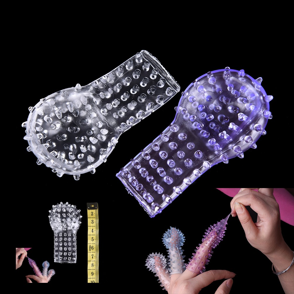 2PCS Silicone Finger Penis Sleeve Extension Spiny Stretchy Clitoris G Spot Stimulator Party Game Sex Toy Body Care Drop Shipping