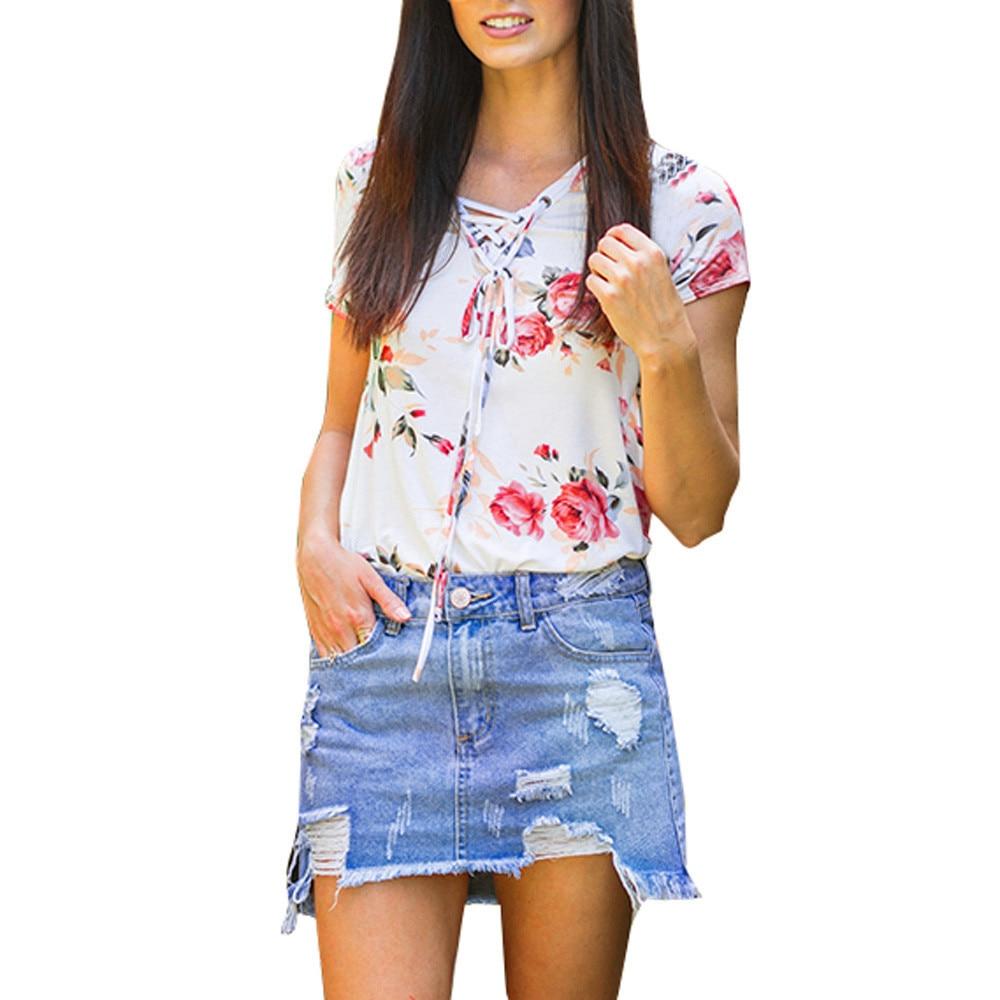 Tie collar collar t-shirt Womens Floral Criss Cross Printing Summer Loose Short Sleeve T Shirt wholesale or dropship #GH30
