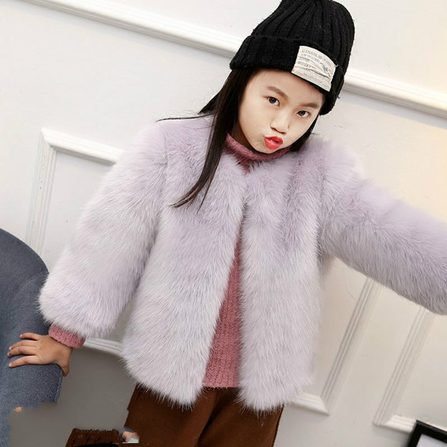 55ac6909d91af Toddler Faux Fur Jacket Cute Lolita Children Thick Clothes Girl Fashion  Winter Plus size Coat Baby Warm Loose Outerwear WQ2