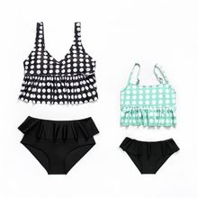 Mother Daughter Summer Two Piece Bikini Set Vintage Polka Dot Printed Tank Top Vest Swimsuit High Waist Tiered Ruffles Layer cutout waist gold polka dot velvet top