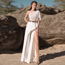 One Shoulder White Lace Ruffle Spliting Maxi Rompers Womens Jumpsuit Short Sleev