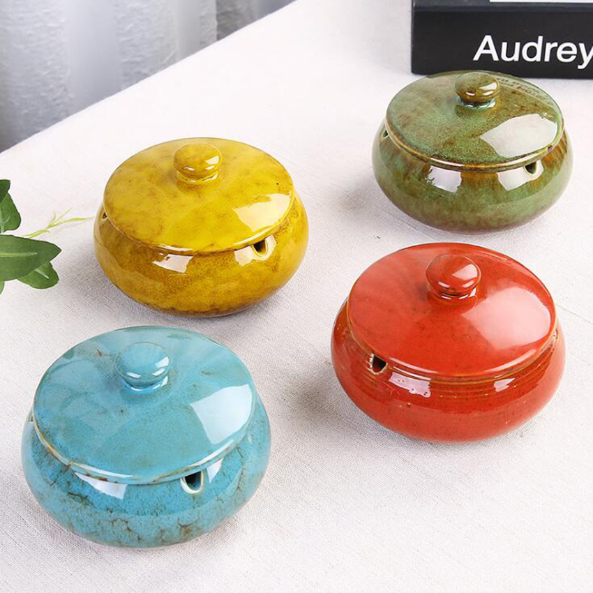 Portable Ceramic Ashtray With Lid Windproof Outdoor Indoor Cigarette Ashtray Chinese Style Ash Holder Logo Can Be Customized