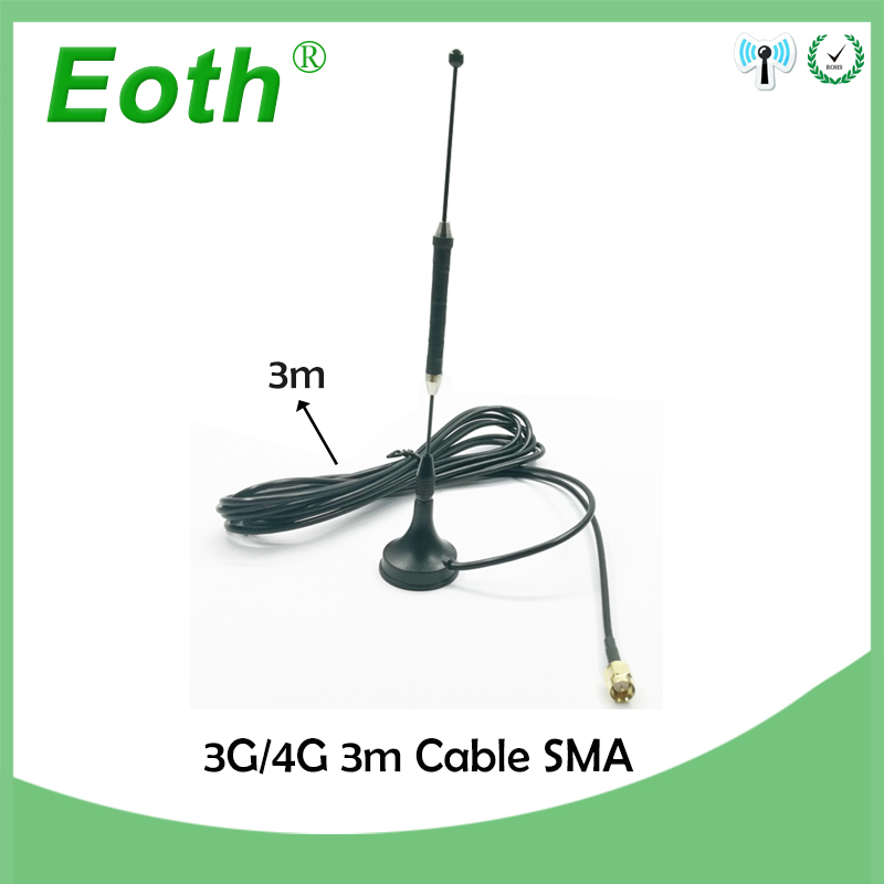 5pcs/lot 4G 10dbi LTE Antenna 3g 4g lte Aerial 698-960/1700-2700Mhz with magnetic base SMA Male RG174 3M Clear Sucker Antenna