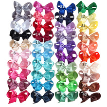 цена на Hot!!! 3 inch hair bows WITH Single Prong alligator Clips(ribbon wrapped) baby girl hair accessories Boutique bows Free Shipping