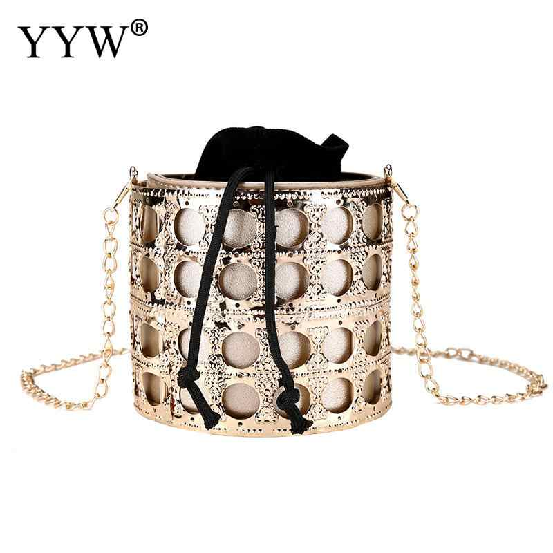 e90343db5f96e ... Gold Cross Body Clutch Bag Girl Metal Drum Hollow Bucket Bag Elegant  Bolsa Feminina Women Crossbody ...