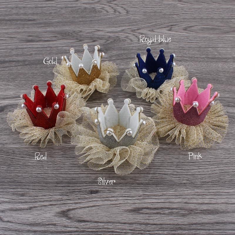 30pcs/lot 5colors Newborn 3D Felt Kids Crown+Mesh Flower For Girls Hair Accessories Glitter Felt Crown For First Birthday Hat